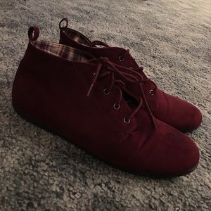 Forever 21 Burgundy Suede Sneakers, Size 9